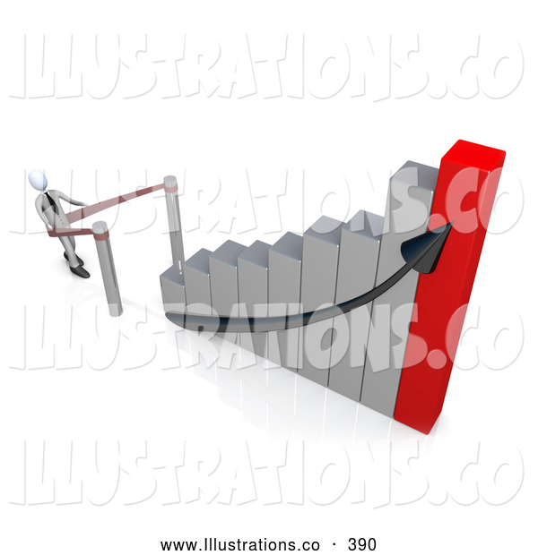 Royalty Free Stock Illustration of a Businessman Standing in Line and Waiting for His Turn to Climb to Success and up an Ascending Silver and Red Bar Graph Chart