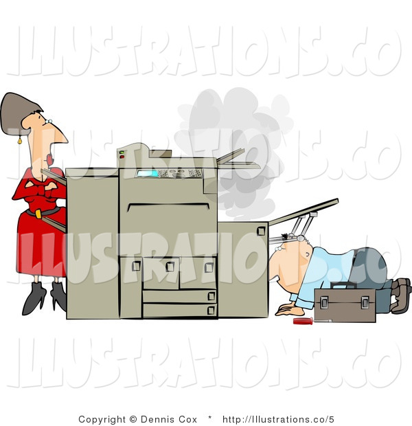 Royalty Free Stock Illustration of a Businesswoman Watching a Repairman Fix Her Broken Photocopy Machine with Her Arms Impatiently Crossed