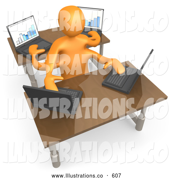 Royalty Free Stock Illustration of a Busy Orange Employee Multitasking While Operating Four Laptop Computers at Two Different Desks in an Office