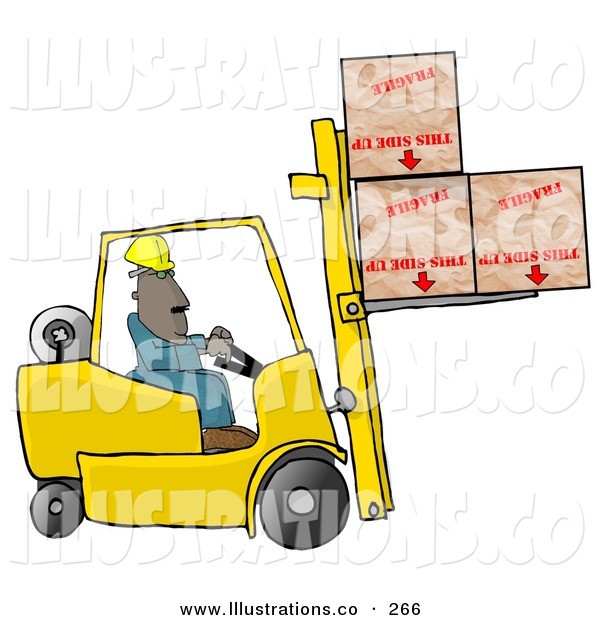 Royalty Free Stock Illustration of a Care Free Forklift Driver Delivering Fragile Boxes Upside down