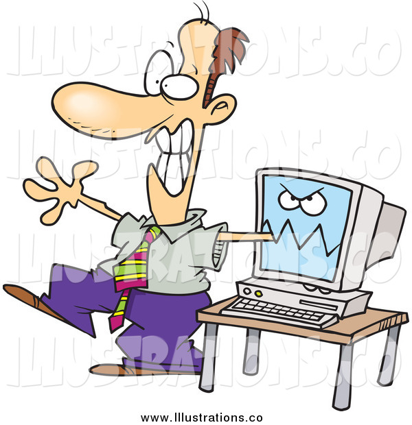Royalty Free Stock Illustration of a Cartoon Computer Biting a Man's Arm