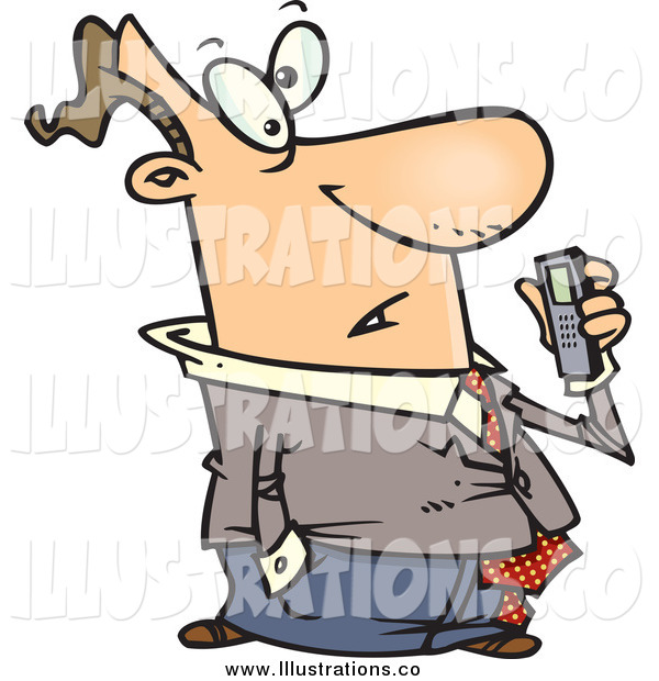 Royalty Free Stock Illustration of a Cartoon Man Holding a Dictaphone Recorder