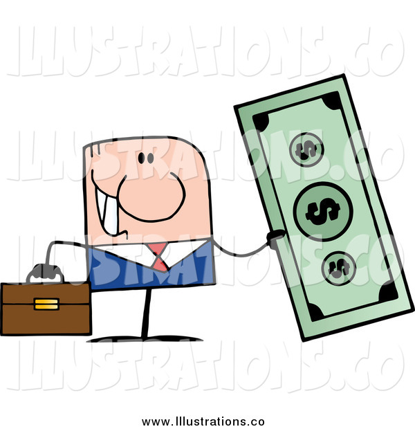 Royalty Free Stock Illustration of a Caucasian Businessman Holding a Giant Dollar Bill