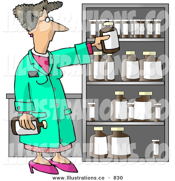 Royalty Free Stock Illustration of a Caucasian Female Pharmacist Restocking the Shelves with Bottles of Medicine and Drugs