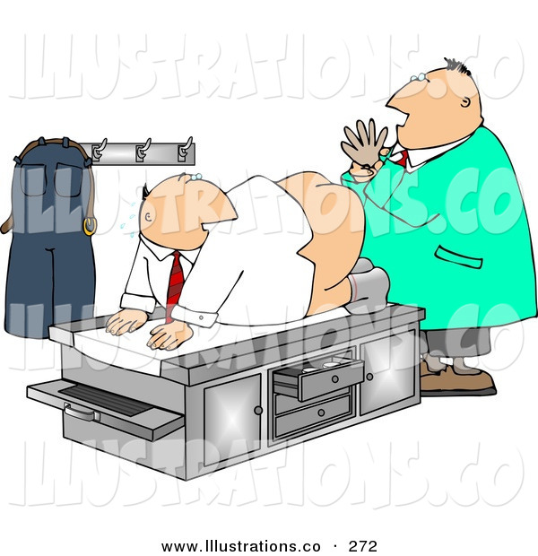 Royalty Free Stock Illustration of a Caucasian Male Doctor Giving Patient His First Prostate Examination - Humorous Medical ClipartCaucasian Male Doctor Giving Patient His First Prostate Examination - Humorous Medical Clipart