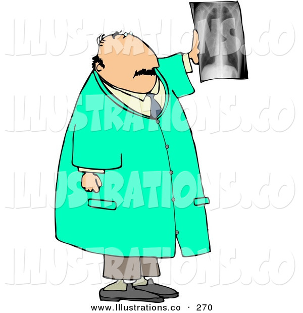 Royalty Free Stock Illustration of a Caucasian Male Doctor Looking at X-ray of Human Spine