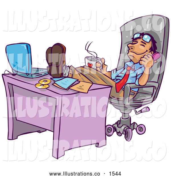 Royalty Free Stock Illustration of a Chill, Relaxed Businessman Leaning Back in His Chair with His Feet up by His Laptop Computer on His Desk, Holding a Cup of Hot Coffee and Chatting on the Phone