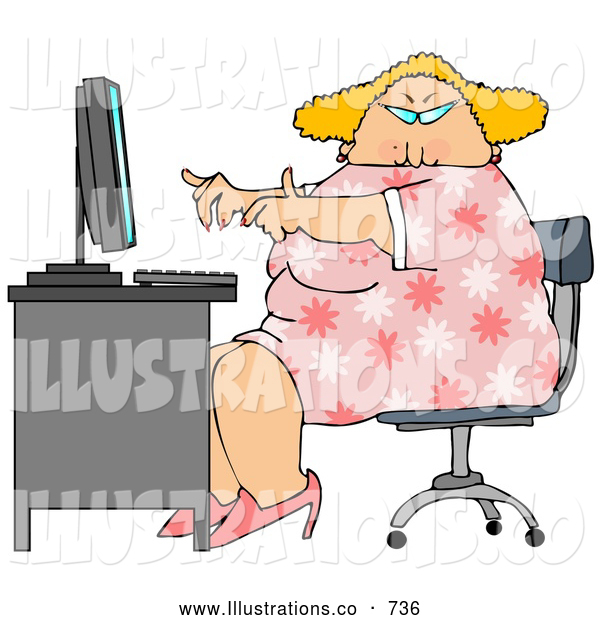 Royalty Free Stock Illustration of a Chubby Overweight Blond Secretary Woman Working at a Computer Desk in an Office