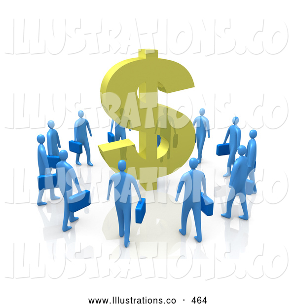 Royalty Free Stock Illustration of a Circling Group of Greedy Blue Businessmen Surrounding a Giant Golden Dollar Symbol