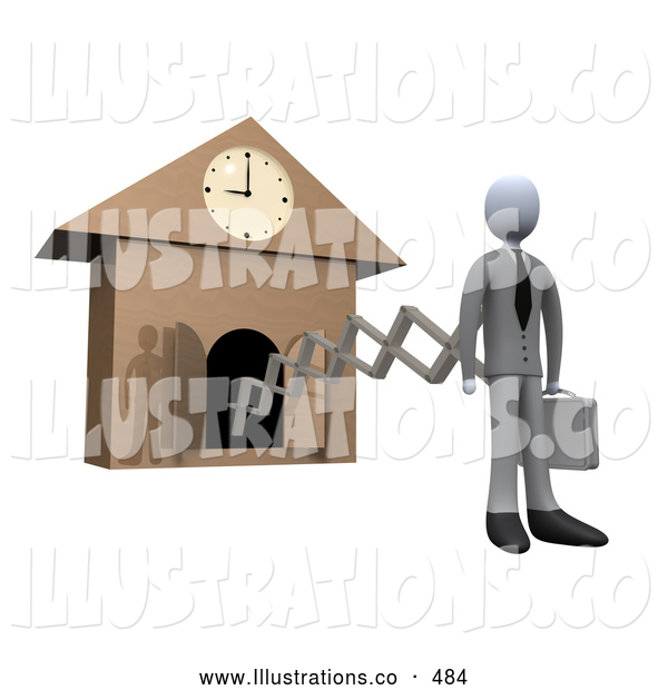 Royalty Free Stock Illustration of a Clock Man on a New Work Day, Punctuality