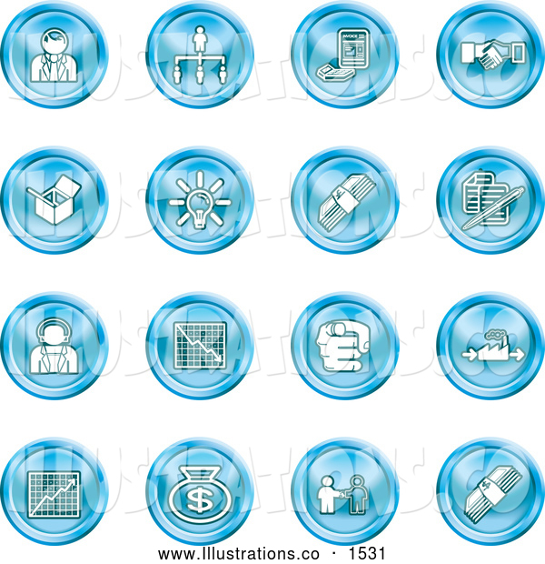 Royalty Free Stock Illustration of a Collection of Blue Coin Shaped Business Icons of Business People, Management, Hand Shake, Lightbulb, Cash, Charts, and Money Bags