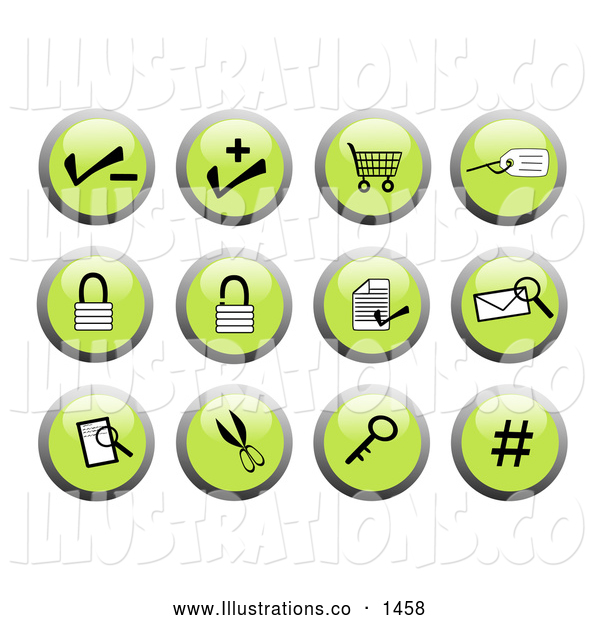 Royalty Free Stock Illustration of a Collection of Green Business Website Icon Buttons - Key, Secure, Email, Number, Lock, Authentication, Security, Shopping Cart, Add Item