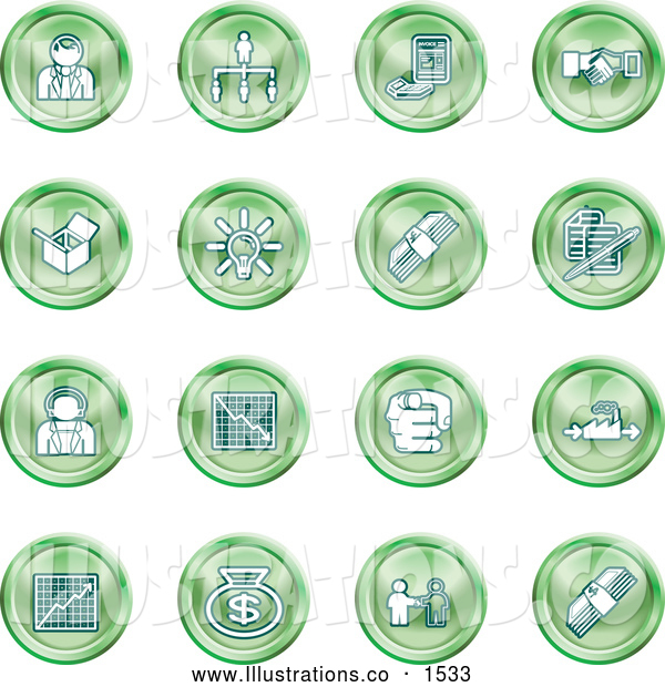 Royalty Free Stock Illustration of a Collection of Green Coin Shaped Business Icons of Business People, Management, Hand Shake, Lightbulb, Cash, Charts, and Money Bags