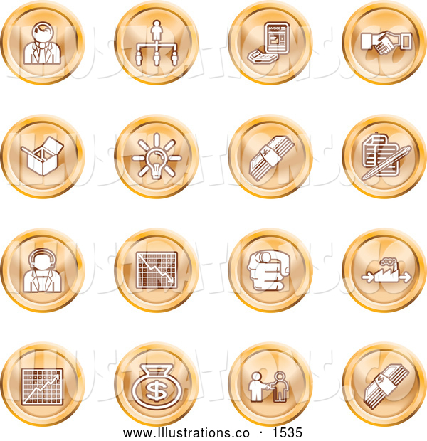 Royalty Free Stock Illustration of a Collection of Orange Coin Shaped Business Icons of Business People, Management, Hand Shake, Lightbulb, Cash, Charts, and Money Bags