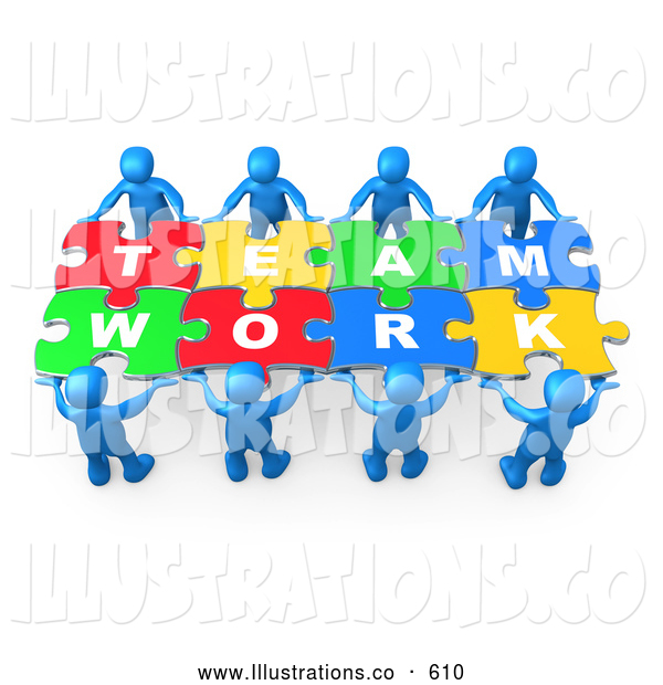 Royalty Free Stock Illustration of a Completed Jigsaw Puzzle That Spells out Team Work
