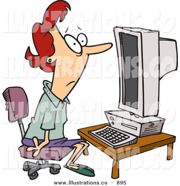 Royalty Free Stock Illustration of a Computer Illiterate Woman Sitting in Front of a Desktop Computer
