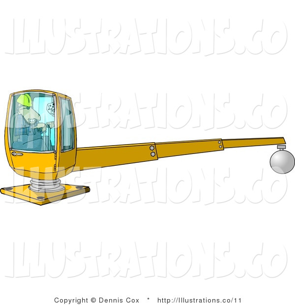Royalty Free Stock Illustration of a Construction Worker in a Hard Hat Operating a Heavy Equipment Crane