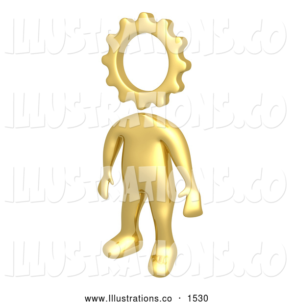 Royalty Free Stock Illustration of a Creative Cog Headed Golden Person with a Big Imagination