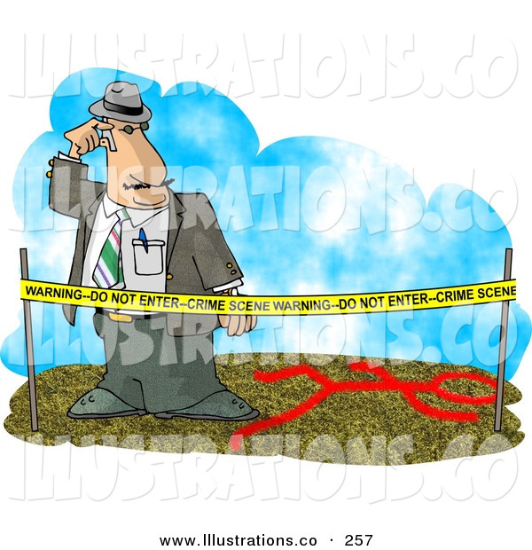 Royalty Free Stock Illustration of a Crime Scene Investigator Person Investigating a Murder