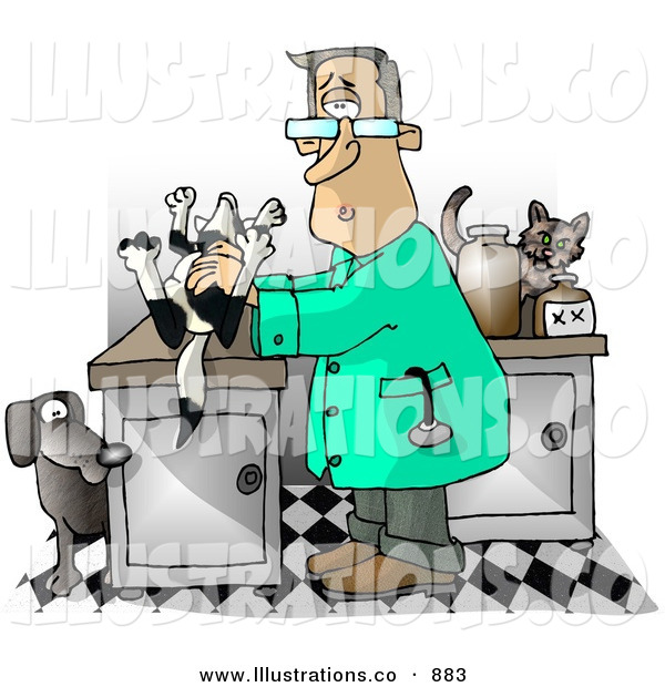 Royalty Free Stock Illustration of a Curious Male Veterinarian Handling a Dead Dog on a Table