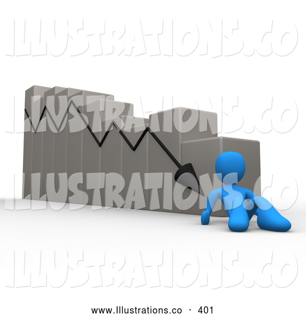 Royalty Free Stock Illustration of a Declining Descending Bar Graph Chart, Symbolizing Failure, Mistakes and Bankruptcy
