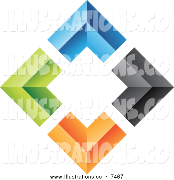 Royalty Free Stock Illustration of a Diamond of Colorful Walls