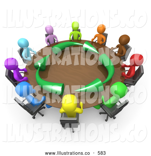 Royalty Free Stock Illustration of a Diverse and Colorful Group of Men Seated and Holding a Meeting About Running an Environmentally Friendly Company Around a Round Conference Table