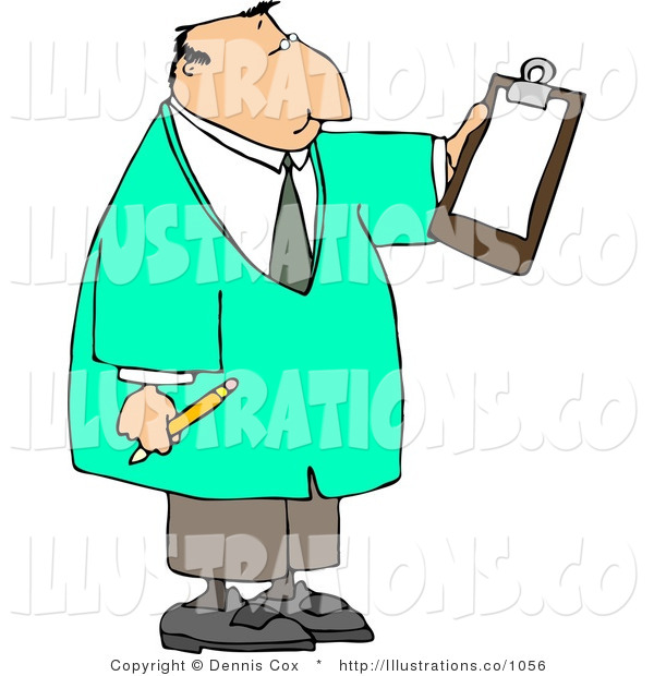 Royalty Free Stock Illustration of a Doctor Man Reading Checklist on Clipboard and Holding a Pencil