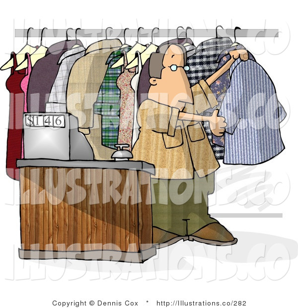 Royalty Free Stock Illustration of a Dry Cleaner Man Standing Beside Clothing and Cash Register