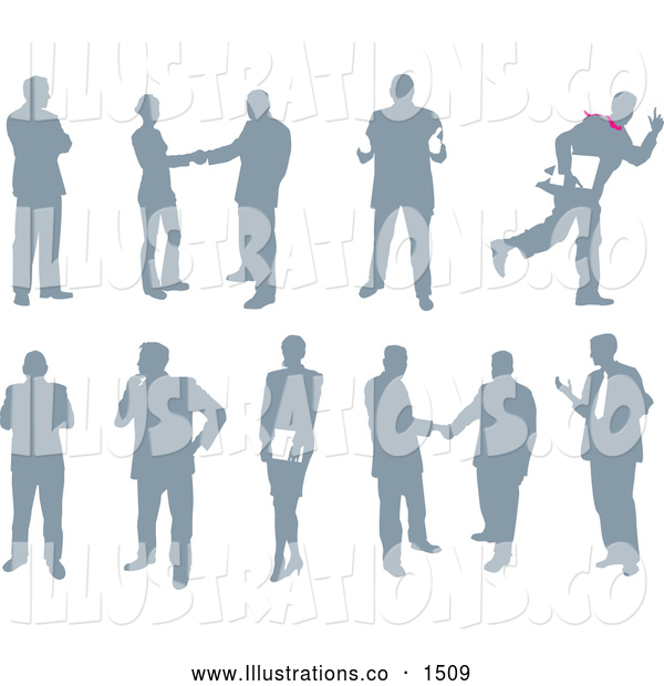 Royalty Free Stock Illustration of a Emotional Collection of Business People Silhouetted in Different Poses