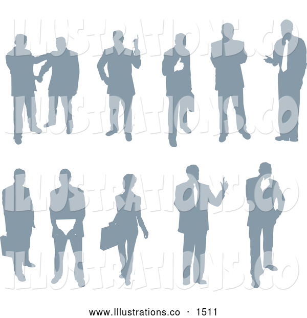 Royalty Free Stock Illustration of a Emotional Collection of Businessmen and Businesswomen Silhouetted in Poses