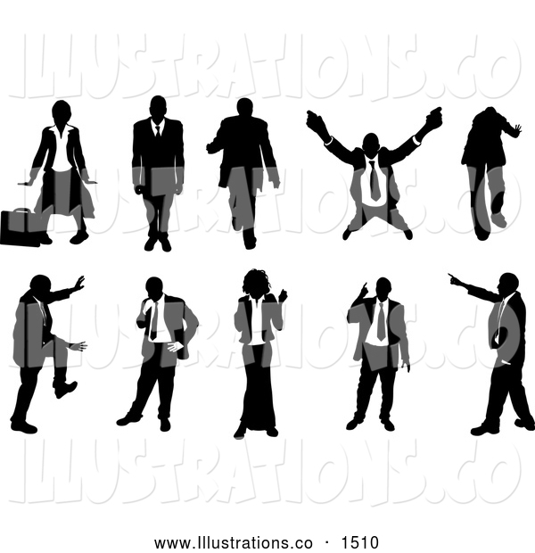 Royalty Free Stock Illustration of a Emotional Collection of Businesspeople in Silhouette, in Different Poses