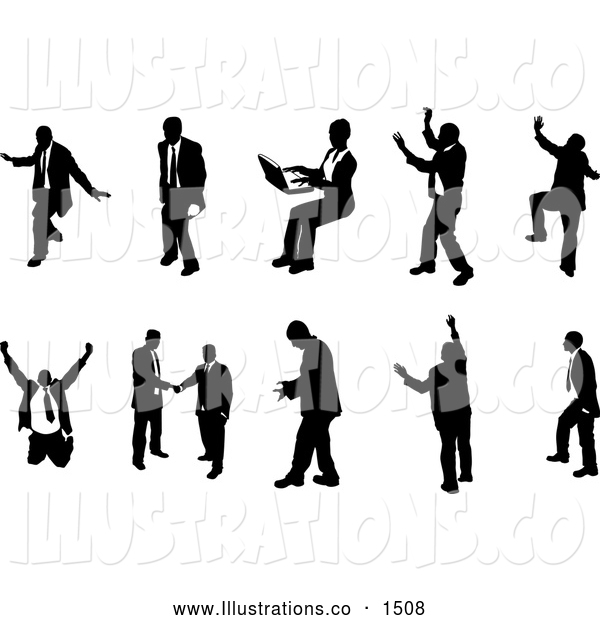 Royalty Free Stock Illustration of a Emotional Collection of Poses of Silhouetted Business People