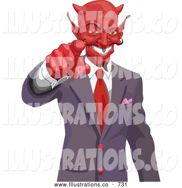 Royalty Free Stock Illustration of a Evil Greedy Horned Devil Pointing, Wanting Your Soul or Money