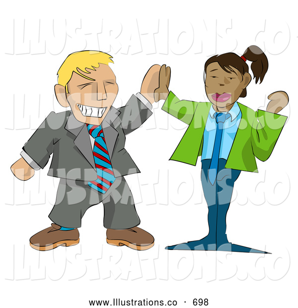 Royalty Free Stock Illustration of a Excited Businessman Giving a Professional Businesswoman a High Five