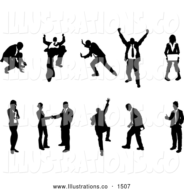 Royalty Free Stock Illustration of a Excited Collection of Business Concepts Showing Silhouetted Businesspeople in Different Poses