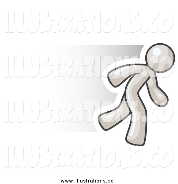 Royalty Free Stock Illustration of a Fast White Business Man Running