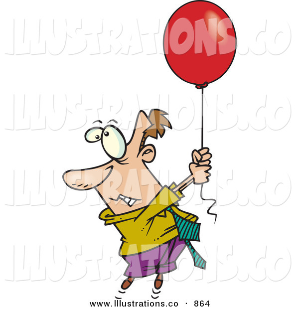 Royalty Free Stock Illustration of a Fearful White Business Man Getting Carried Away by a Red Balloon
