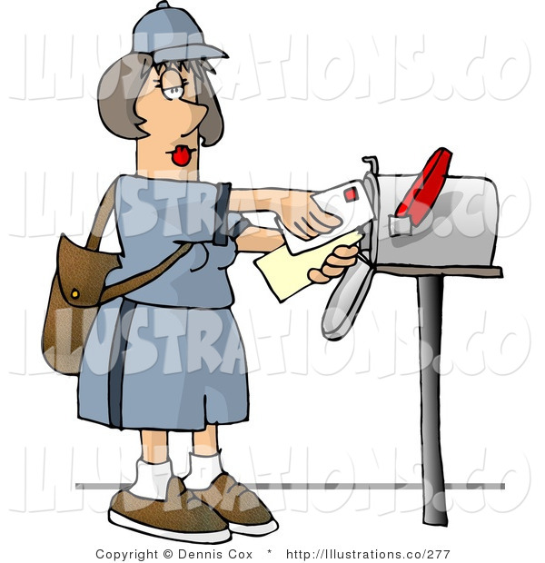 Royalty Free Stock Illustration of a Female Mail Carrier Delivering Envelopes into a Mailbox