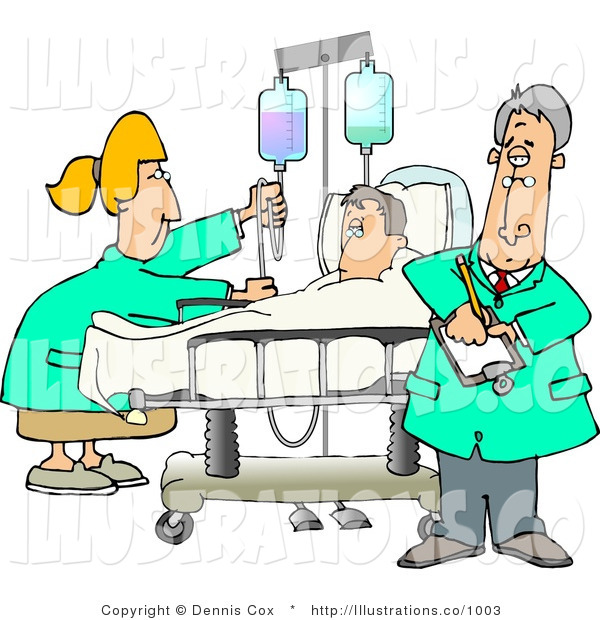 Royalty Free Stock Illustration of a Female Nurse and Doctor Caring for a Hospitalized Man Attached to an IV Fluid Drip Line
