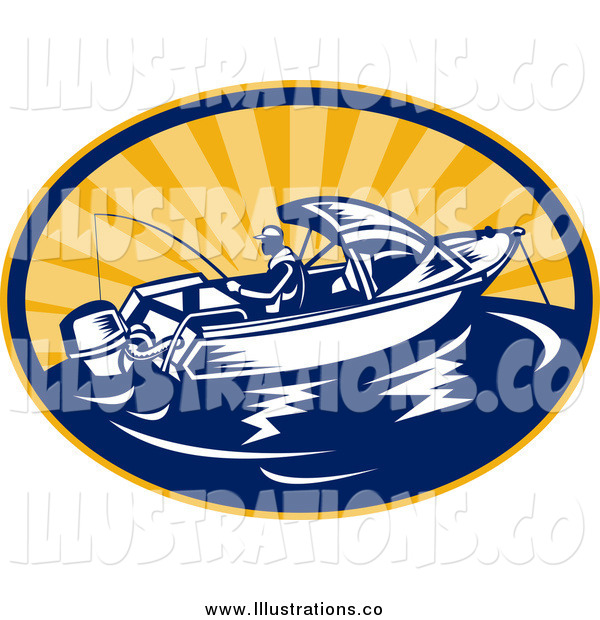 Royalty Free Stock Illustration of a Fishing Man and Boat