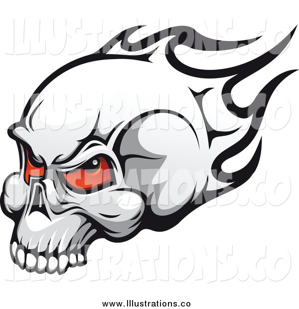 Royalty Free Stock Illustration of a Flaming Skull with Demonic Red Eyes