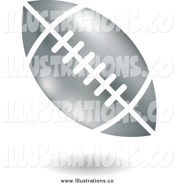 Royalty Free Stock Illustration of a Floating Silver American Football