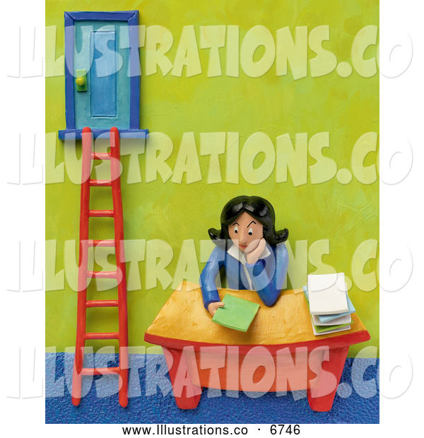 Royalty Free Stock Illustration of a Friendly 3d Businesswoman Sitting at Her Desk by a Corporate Ladder