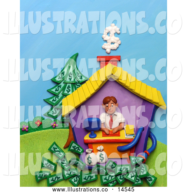 Royalty Free Stock Illustration of a Friendly 3d Man Working in His Home Office