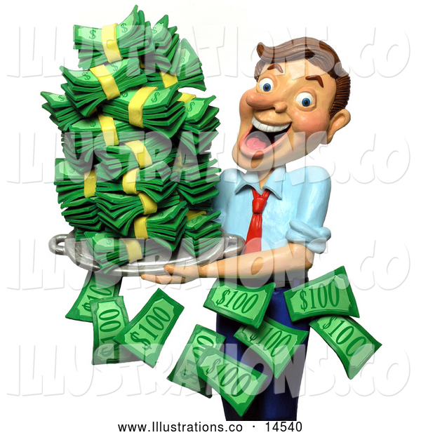 Royalty Free Stock Illustration of a Friendly 3d Successful Businessman Holding a Tray of Cash Money