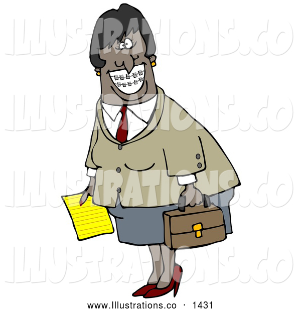 Royalty Free Stock Illustration of a Friendly African American Businesswoman with Braces, Smiling and Carrying a Letter and Briefcase