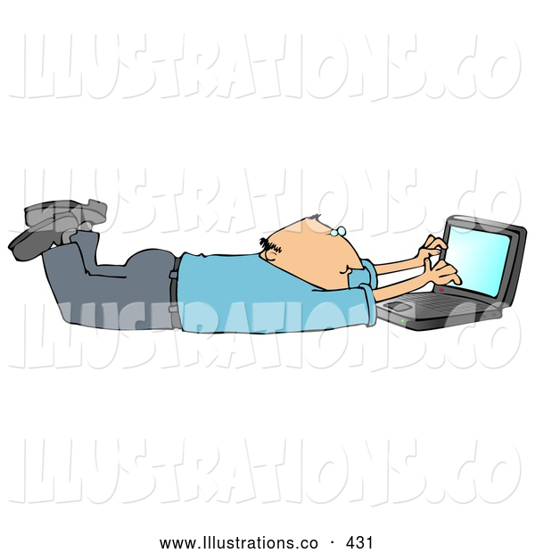 Royalty Free Stock Illustration of a Friendly Balding Caucasian Businessman in a Blue Shirt and Slacks, Lying on His Stomach While Typing on a Laptop Computer That Is Set on Wireless Internet