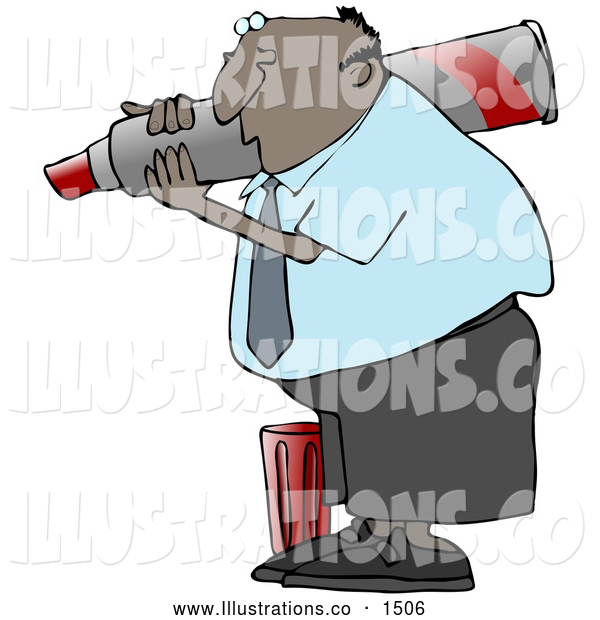 Royalty Free Stock Illustration of a Friendly Black Business Guy Carrying a Big Red Marker on His Shoulder and Writing