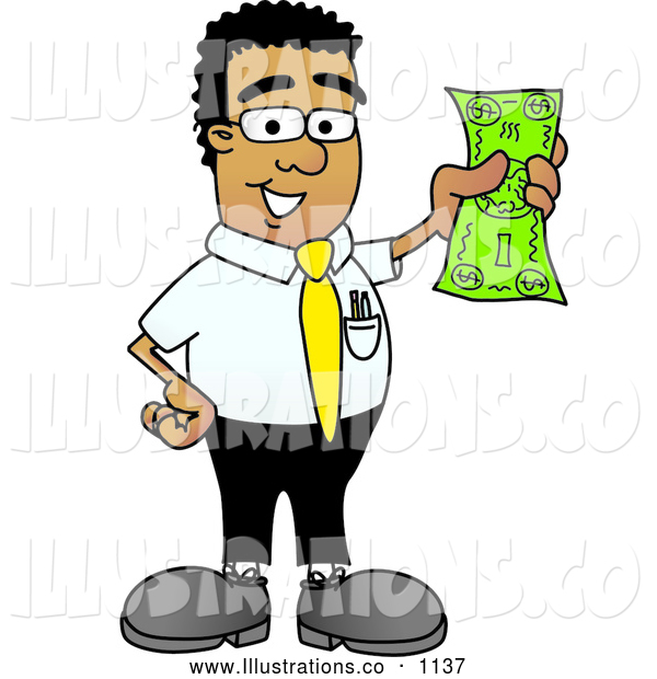 Royalty Free Stock Illustration of a Friendly Black Businessman Mascot Character Holding a Dollar Bill